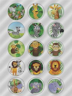 N364 Edible Icing Image Birthday Cake Cookie Cupcake Toppers Jungle Zoo Animals