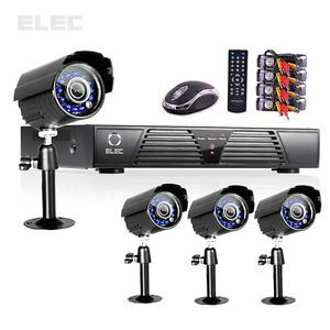 Elec® 4CH CCTV DVR Full D1 Motion Detection Outdoor Color Camera Security System