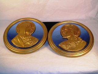 Nice Vintage Art Deco Blue Glass Jesus and Mary Wall Plaques Pair G41