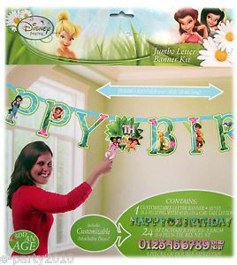Tinkerbell Jumbo Letter Banner Kit w Custom Age Happy Birthday Party Supplies