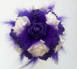 Brides Bridesmaids Wedding Flower Bouquet Purple and Ivory Roses Feathers Veil