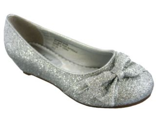 New Silver Glitter Kids Girls Fashion Heels Holiday Dress Shoes Pageant Wedding
