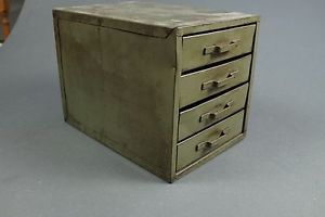 Vtg Used Old Metal Green Small Parts Tool Industrial Box Filing Cabinet Drawers