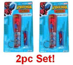 2pc Spider Man Keychain Flash Light w Battery Childrens Kids Toy Flashlights G6