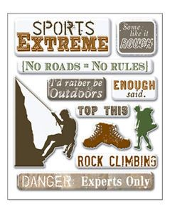 Art Whse Extreme Sports 3 D Mini Epoxy Stickers Outdoors Rock Climbing Hiking