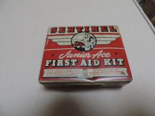 World War II Sentinel Junior Ace First Aid Kit Cotton Gauze Adhestive Plaster