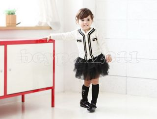 New Lovely Kids Toddlers Girls Party Coat Jacket and Skirt Outfits Sets AGE2 7Y