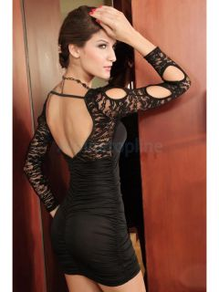 Women Sexy Backless Lace Hollow Out Long Sleeves Slim Plicated Club Party Dress