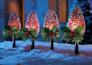 4 PC Pine Cone Christmas Holiday Outdoor Yard Path Light Stake Decor Tree Snow