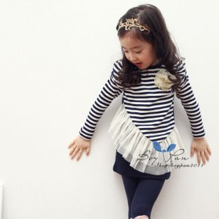 Kids Clothes Cute Girls Stripe Long Sleeve Oblique Yarn Skirt Dresses AGES2 7Y