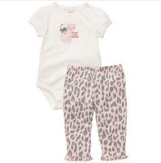 Carters Baby Girl Clothes 2 Piece Set Cat Pink Gray 3 6 9 12 18 24 Months