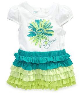 Guess Designer Baby Girl Clothes Dress Green White Ruffles 12 18 24 Months