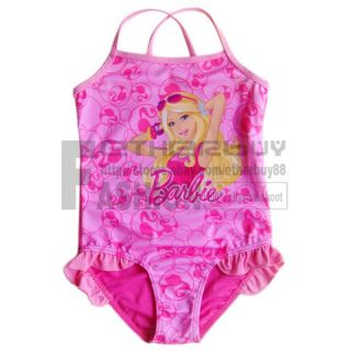 Kids 2 7 Years Pink Ruffle Thigh Girls Swimsuit Swimwear Costume Tankini Bathing