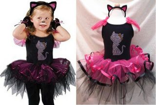 Baby Girl Tutu Dress Outfit Cat Fancy Princess Dance Wear Skirt 9 12 24 2 3 4 5