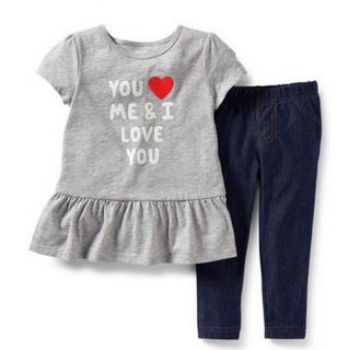 Carters Baby Girl Clothes 2 Piece Set Gray Navy Heart 3 6 9 12 18 24 Months
