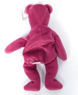Candy Spelling's Beanie Baby Old Face Magenta Teddy Bear 1993 1st Gen Tush Tag