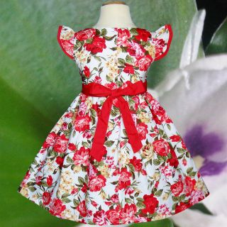 Red Flower Clothing Summer Birthday Toddler Girls Kids Dresses Size 2 7 Year