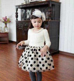 Kids Winter Girls Fashion Lovely Clothes Long Sleeve Skirts Dots Dress AGES1 7Y