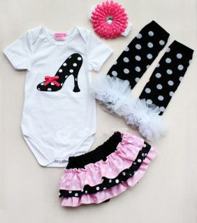 Newborn Infant Baby Girl Headband Romper Leg Warmer Skirt Pants Outfit Clothes
