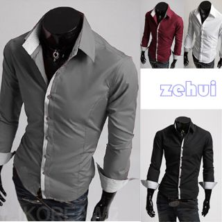 Striped Stand Collar Stylish Men's Shirt Button Front Casual Slim Fit T Shirt