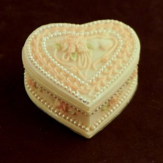 Heart Shaped Ceramic Locket Wedding Party Favor Candy Box Set of 6