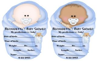 "Unique Baby Shower Party Favor Baby Prediction Card Game Shaped Like Baby ""Cute"""