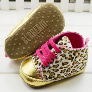 New Style Baby Girl Leopard Gold Crib Shoes Walking Sneaker Size 1 2 3