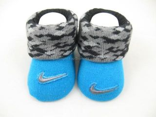 Cute Nike Newborn Infant Booties Baby Boy 0 6 Months Blue Black Gray 1 Pair