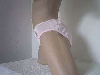 Girls Cute Baby Pink Silky All Nylon Bikini Panties Teddy Bear Retro Knickers