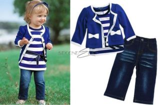 3pcs Baby Girl Kid Coat T Shirt Jeans Outfit Set Suit Clothing Navy Blue 0 5Year