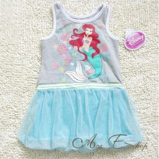 Girls Size 2 7Y Princess Ariel Mermaid Summer Tank Dress Party Tutu Skirt Outfit