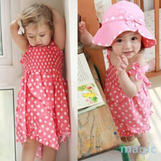 Kids Baby Girls Bowknot Pink Dot 3pcs Dress Pants Hat Set Outfit Clothes 0 36M