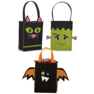 Mud Pie Halloween Bat Cat Monster Felt Tote Candy Bags 212A003