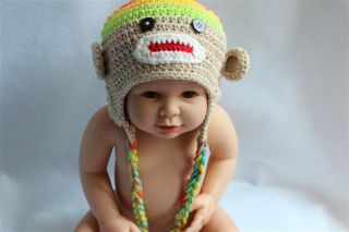 Lovely Handmade Baby Child Crochet Sock Monkey Hat Photograph Multi Color Beige