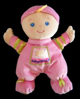 Pink Baby's 1st Doll Plush Rattle Fisher Price Lovey Green Bow Blue Eyes Hat