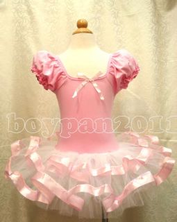 New Kids Girls Party Lovely Costume Leotar Ballet Tutu Dress Age 1 8Y Dancewear