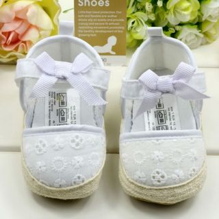 Soft Toddler baby girl white flower Princess Shoes Size US 1 2 3 for 3 12 months