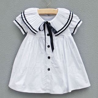 New Kids Toddlers Girls Lovely Bow White Pink Navy Cotton Dresses Tops AGES1 7Y