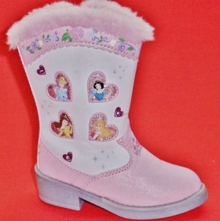 New Girl's Toddler's Disney Princess Rodeo Pink White Casual Cowboy Boots