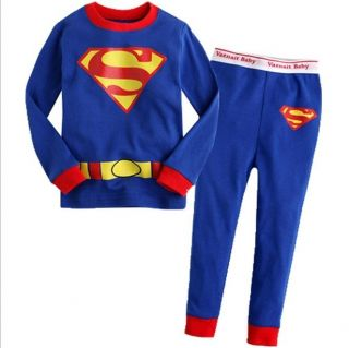 "Hot Toddler Girls Clothes Kids Boys Sleepwear ""Superman"" Pajamas Suits Set 2T 7T"