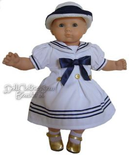 Doll Clothes Fits Bitty Baby Sailor Dress Hat Cutest