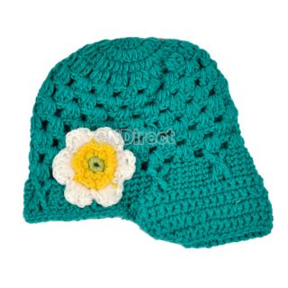 W3LE Cute Baby Toddler Girl Baby Handmade Caps Knit Crochet Flowers Hat Cap New