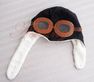 Cool Baby Toddler Boy Girl Kids Pilot Aviator Warm Cap Hat Beanie Black Brown