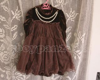 New Kids Toddlers Girls Princess Long Sleeve Velvet Tutu Dress Age 3 10Years