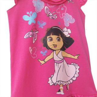 Dora The Explorer 1pc Baby Girls Kids Toddler Tunic Summer Layered Dress Sz 2T