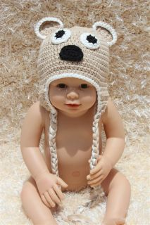 New Cotton Handmade Baby Child Teddy Bear Knit Hat Photograph Newborn to 3 Year