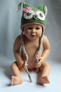Cute Gorgeous Baby Toddler Owl Hat Beanie New Green Pink Flower Newborn to 3Year