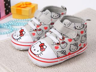 New Toddler Baby Girl Gray Kitty Cat Casual Shoes UK Size 3 A945