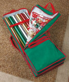 Christmas Gift Wrap Storage Bag Case Holder Paper Ribbon Bow Organizer Holiday