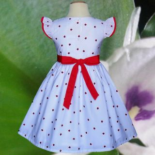 White Red Apples Birthday Party Baby Toddler Girls Dresses Size 2T 3T 4T
